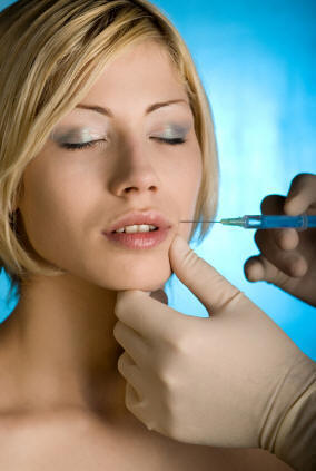 A woman being injected with restylane